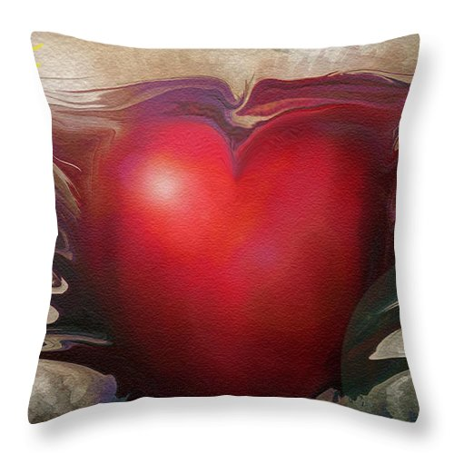 Abstracts Throw Pillow featuring the digital art Heart Of The Sunrise by Linda Sannuti