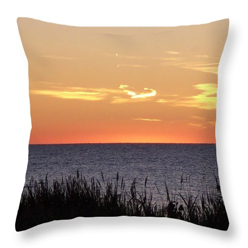 Sunset Throw Pillow featuring the photograph Heart Sunset by Michelle Miron-Rebbe