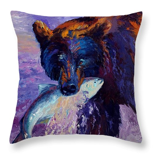 Bear Throw Pillow featuring the painting Heartbeats Of The Wild by Marion Rose