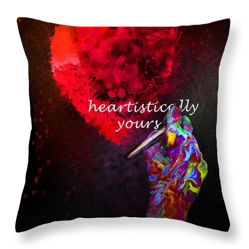 Valentine Throw Pillow featuring the painting Heartistically Yours by Miki De Goodaboom