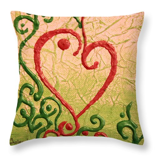 Heart Throw Pillow featuring the painting Hearts by Ann Sokolovich