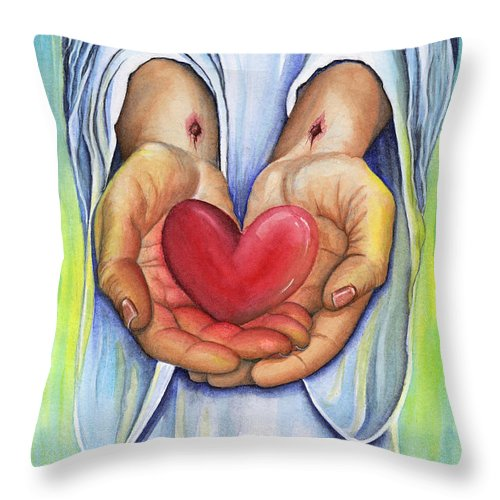 Jesus Throw Pillow featuring the painting Heart's Desire by Nancy Cupp
