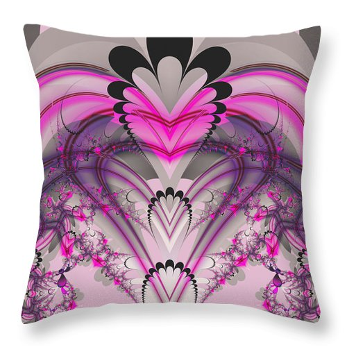 Fractal Throw Pillow featuring the digital art Hearts by Frederic Durville