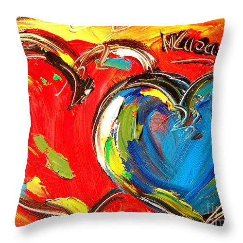 Hearts Blue Red Throw Pillow featuring the painting Hearts by Mark Kazav