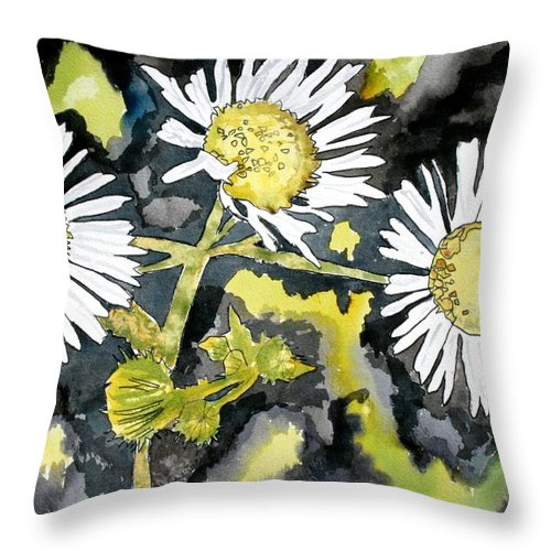Wildflower Throw Pillow featuring the painting Heath Aster Flower Art Print by Derek Mccrea