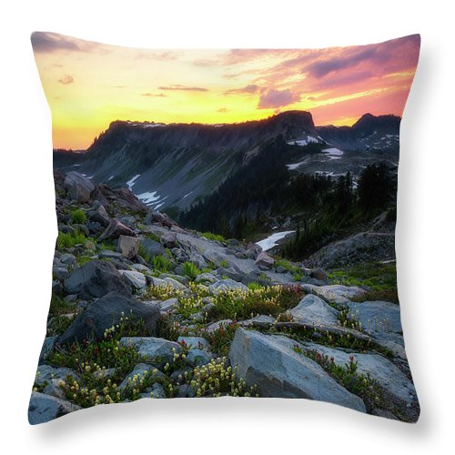 Meadows Throw Pillow featuring the photograph Heather Meadows Sunset by Ryan Manuel