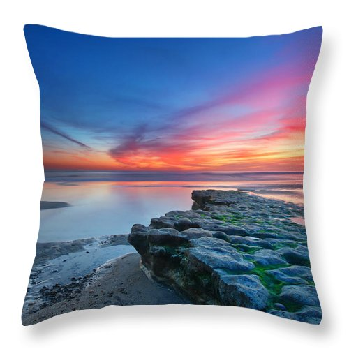 Sunset Throw Pillow featuring the photograph Heaven And Earth by Larry Marshall