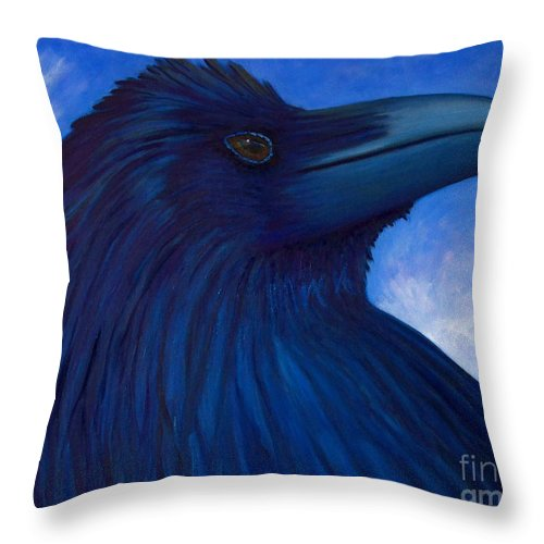 Raven Throw Pillow featuring the painting Heaven Bound by Brian Commerford