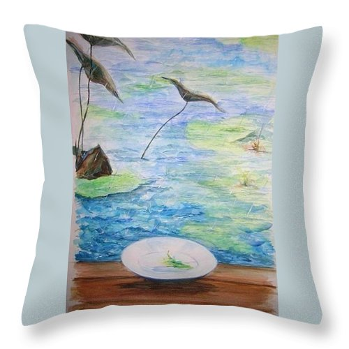 Feng Shui Study Throw Pillow featuring the painting Heaven Sent Gentle Rain by Lizzy Forrester