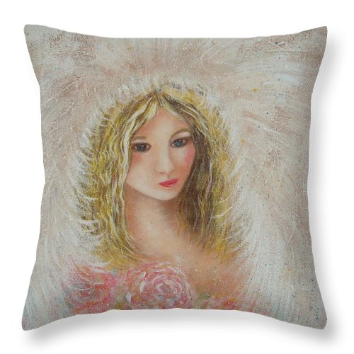 Angel Throw Pillow featuring the painting Heavenly Angel by Natalie Holland