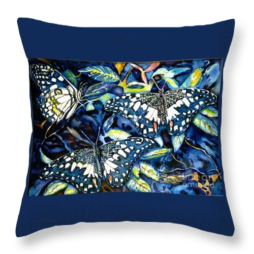 Butterfly Artwork Throw Pillow featuring the painting Heavenly Jewels by Norma Boeckler