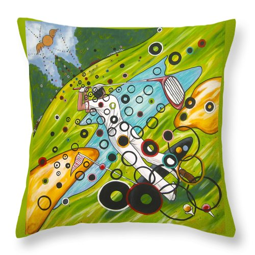 Golf Throw Pillow featuring the painting Heavenly Swing by V Boge