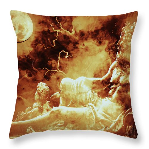 Heavenly Throne Throw Pillow featuring the mixed media Heavenly Throne by KaFra Art