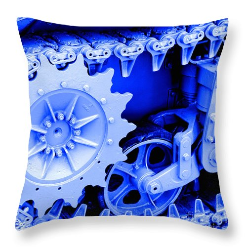 Tank Throw Pillow featuring the photograph Heavy Metal In Blue by Valerie Fuqua