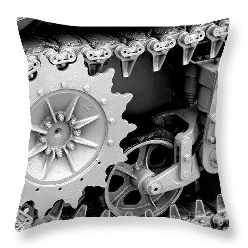 Tank Throw Pillow featuring the photograph Heavy Metal In Gray by Valerie Fuqua