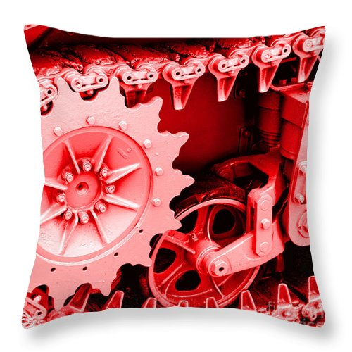 Wwii Throw Pillow featuring the photograph Heavy Metal In Red by Valerie Fuqua