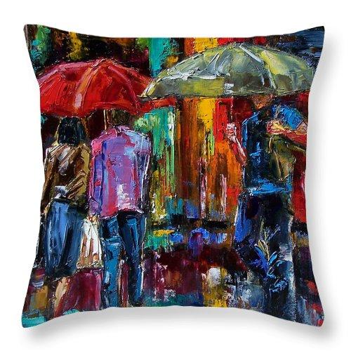 Street Scene Throw Pillow featuring the painting Heavy Rain by Debra Hurd