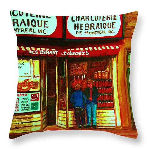Schwartzs Throw Pillow featuring the painting Hebrew Delicatessen by Carole Spandau