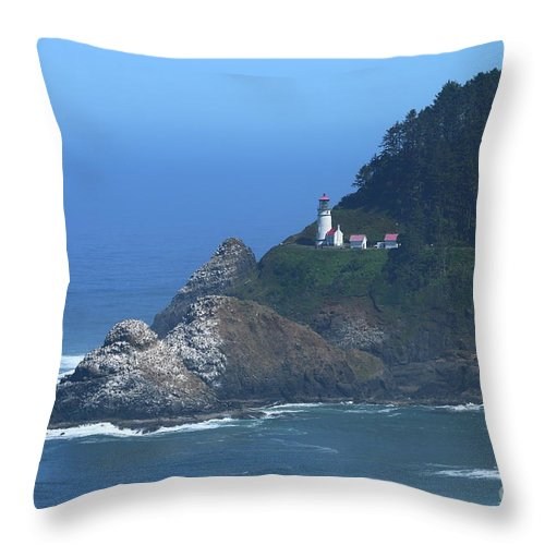 Stone Throw Pillow featuring the photograph Heceta Head by Christiane Schulze Art And Photography