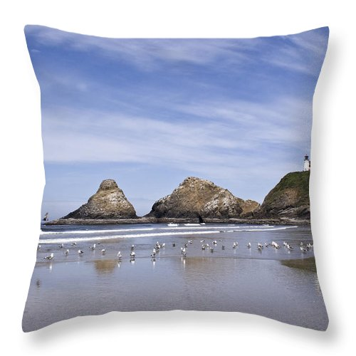 Landscape Throw Pillow featuring the photograph Heceta Head Lighthouse 1 by Lee Santa
