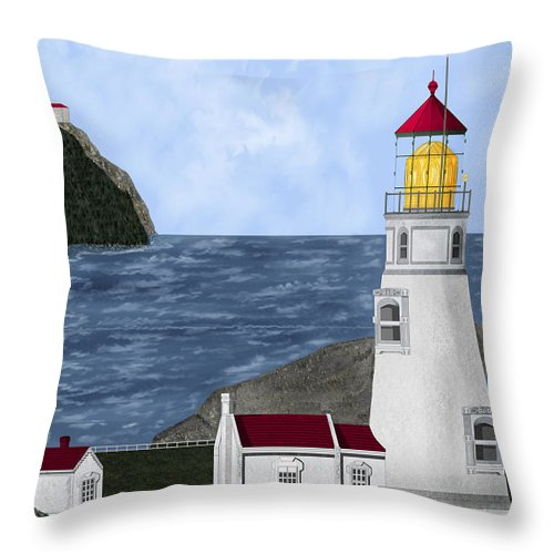 Lighthouse Throw Pillow featuring the painting Heceta Head Oregon by Anne Norskog