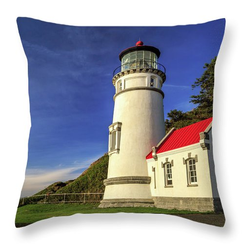 Lighthouse Throw Pillow featuring the photograph Heceta Head Restored by James Eddy