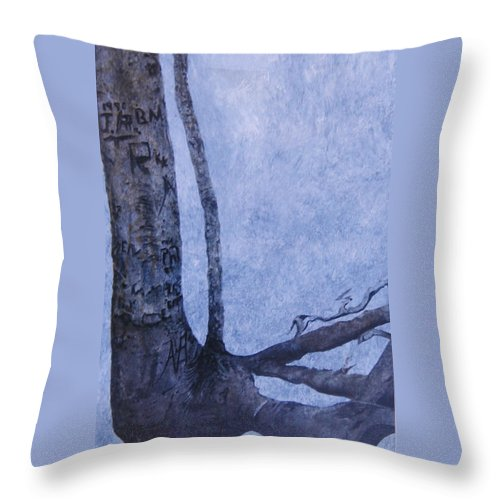 Tree Trunk Throw Pillow featuring the painting Hedden Park II by Leah Tomaino