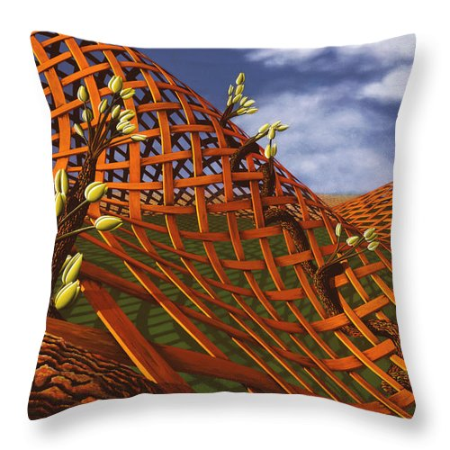 Architecture Throw Pillow featuring the painting Hedera Ferrugo by Patricia Van Lubeck