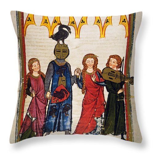 14th Century Throw Pillow featuring the photograph Heidelberg Lieder, C.14th by Granger