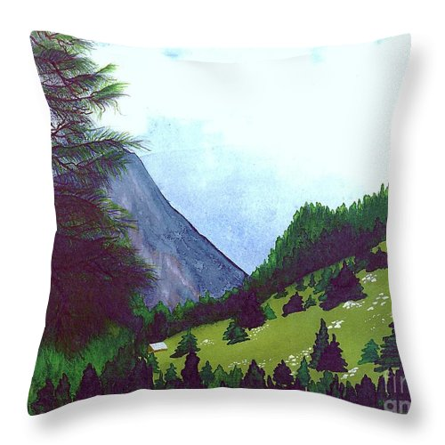 Original Painting Throw Pillow featuring the painting Heidi's Place by Patricia Griffin Brett