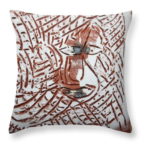 Jesus Throw Pillow featuring the ceramic art Heights - Tile by Gloria Ssali
