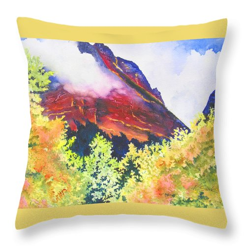 Mountain Throw Pillow featuring the painting Heights of Glacier Park by Karen Stark