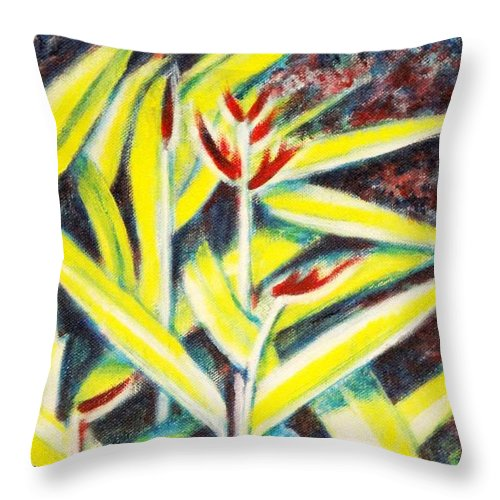 Heliconia Throw Pillow featuring the painting Heliconia 2 by Usha Shantharam