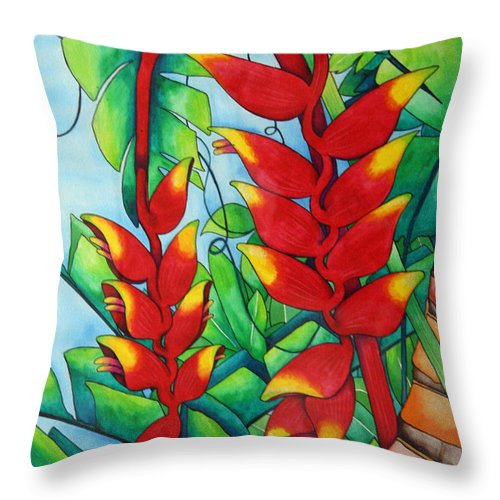 Heliconia Throw Pillow featuring the painting Heliconia Study by Helen Weston