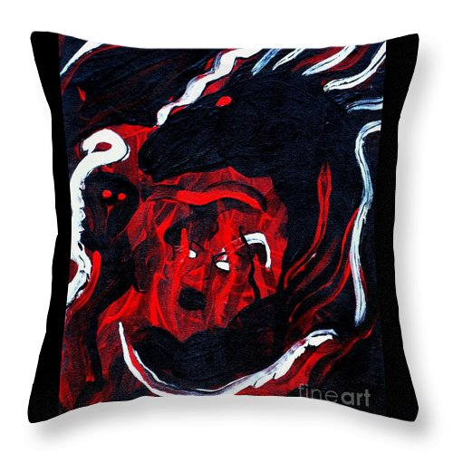 Horse Woman Red Black Silver Throw Pillow featuring the painting Hell Beast by Dawn Downour