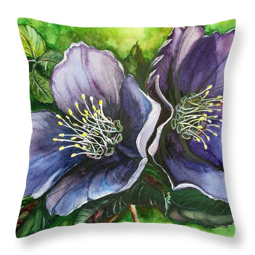 Flower Painting Botanical Painting Original W/c Painting Helleborous Painting Throw Pillow featuring the painting Helleborous Blue Lady by Karin Dawn Kelshall- Best