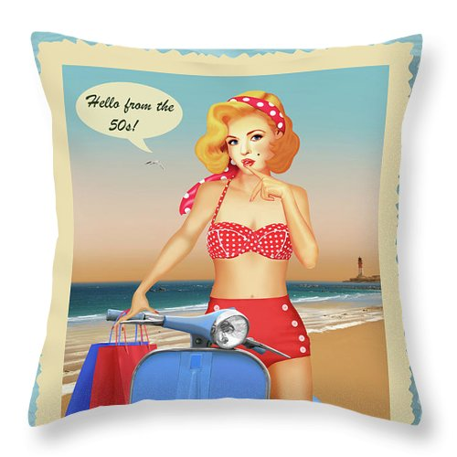 Pin-up Throw Pillow featuring the mixed media Hello From The 50s by Monika Juengling