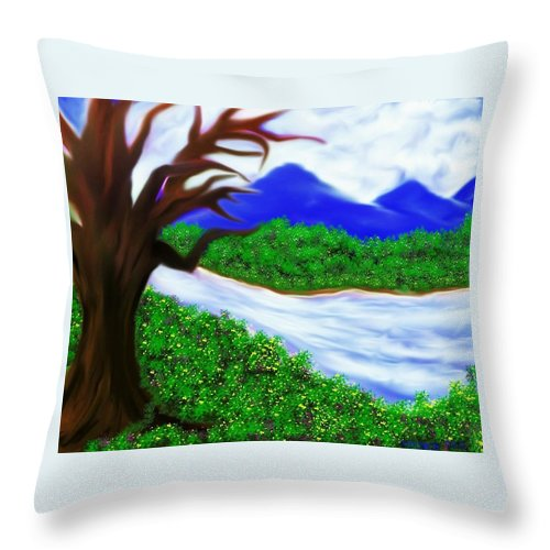 Water Throw Pillow featuring the drawing Hello Spring Time by Debra Lynch
