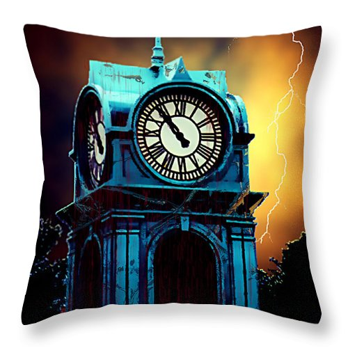 Blood Throw Pillow featuring the painting Hells Timeclock by RC DeWinter