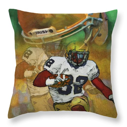 Irish Throw Pillow featuring the painting Helmet N Halfback by John Farr