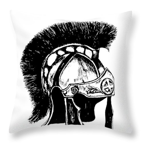 Helmet Throw Pillow featuring the drawing Helmet Of Salvation by Maryn Crawford