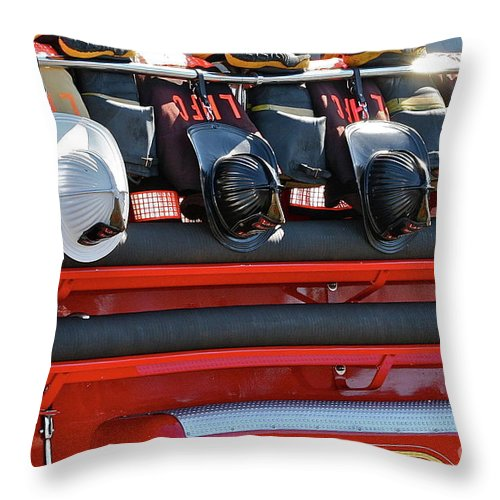 Fire Truck Throw Pillow featuring the photograph Helmets by Rick Monyahan