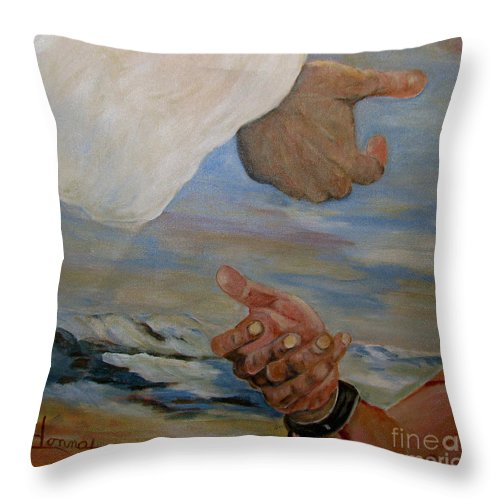 Religious Throw Pillow featuring the painting Help Me by Donna Steward