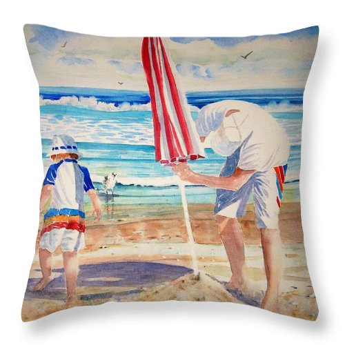 Beach Throw Pillow featuring the painting Helping Dad Set Up The Camp by Tom Harris