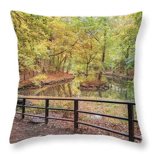 Jordbodalen Throw Pillow featuring the photograph Helsingborg Jordbodalen Forest Path by Antony McAulay