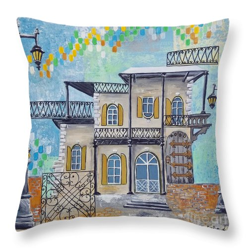 Keys Throw Pillow featuring the painting Hemingway Houses by Natalie L