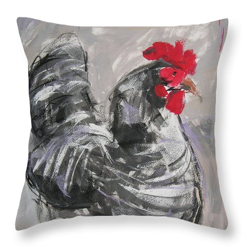 Hen Throw Pillow featuring the painting Hen II by Mary McInnis