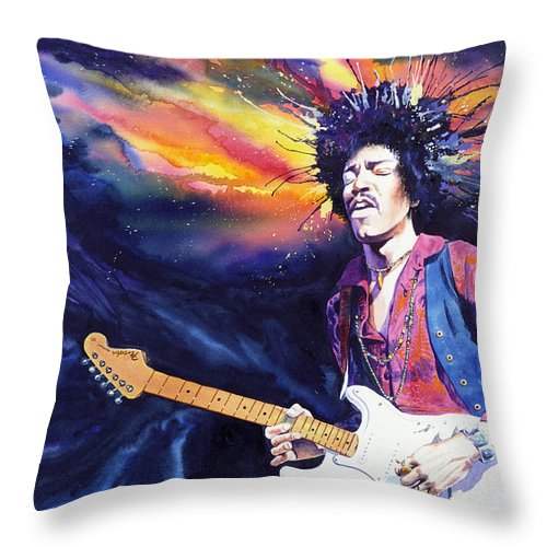 Jimi Hendrix Throw Pillow featuring the painting Hendrix by Ken Meyer jr