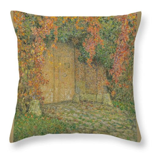 Le Portail Throw Pillow featuring the painting Henri Le Sidaner by MotionAge Designs