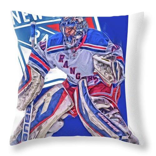 Henrik Lundqvist Throw Pillow featuring the mixed media Henrik Lundqvist New York Rangers Oil Art by Joe Hamilton